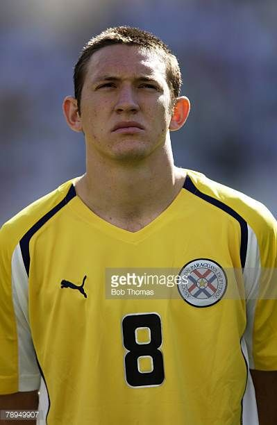 Sport Olympic Games Athens Greece 28th August 2004 Mens Football Final Argentina 1 v Paraguay 0 Edgar Barreto of Paraguay