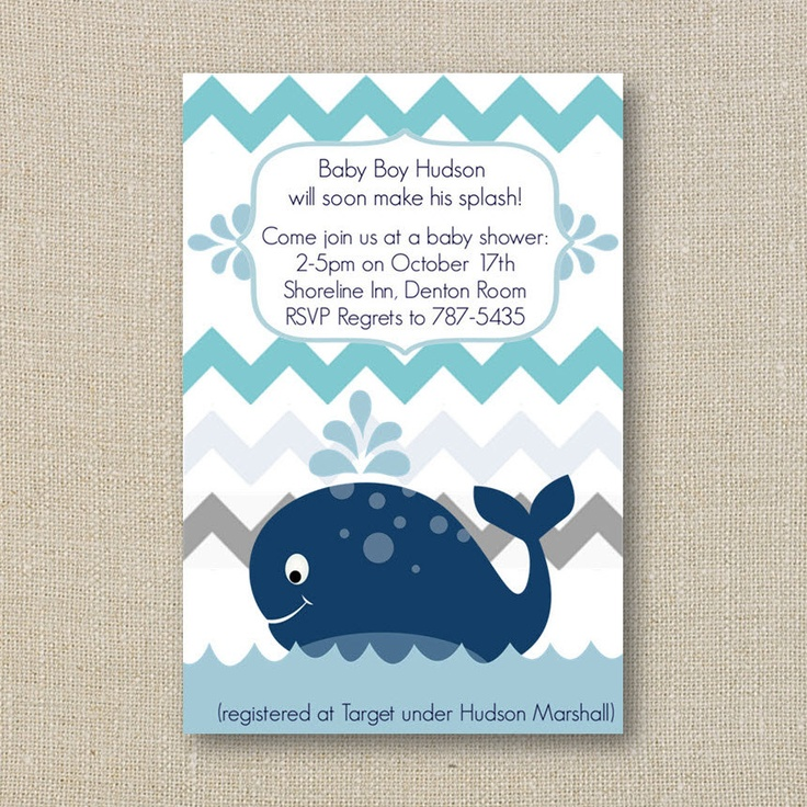 baby shower invitation for twins%0A Whale Baby Shower Invitation  a Splash of Boy Blue Chevron Digital  Printable File