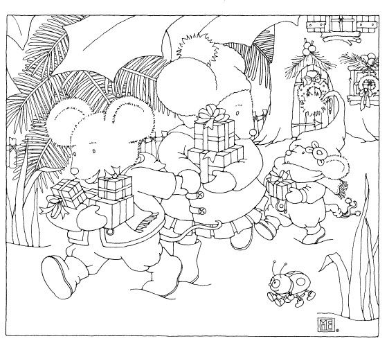 Mary Engelbreit Christmas Mice free coloring page