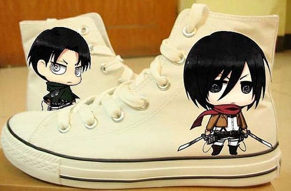 attack on titan converse hand painted converse Attack On Titan Anime Shoes Painted on Converse  Mikasa x Eren