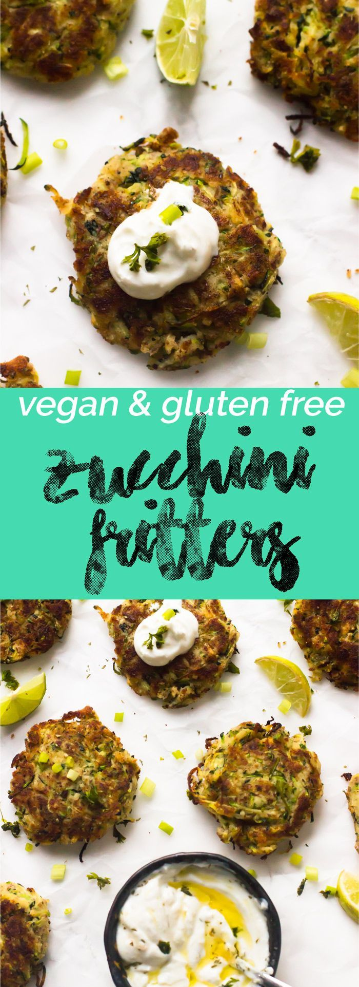 These Vegan Zucchini Fritters are gluten free, crisp not the outside and soft and flavourful on the inside! All in under 30 minutes.