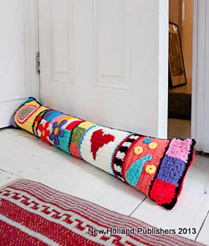 Crochet Graffiti Door Pillow (draft catcher) pattern published in Hip Crochet: 25 Gorgeous Projects for the Home by Natalie Clegg $12.99 on Amazon at http://www.amazon.com/Hip-Crochet-Gorgeous-Projects-Home/dp/1780090552/ref=sr_1_1