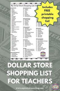 Dollar Store Shopping List for Teachers