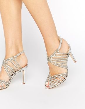 Silver Encrusted Heeled Sandals