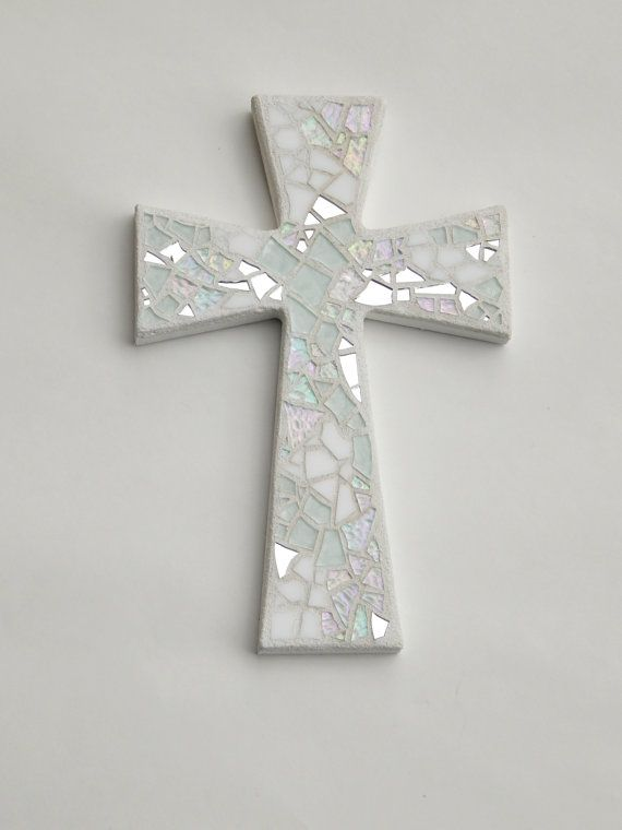 Mosaic Wall Cross, Shades of White + Silver Mirror, Handmade Stained Glass…