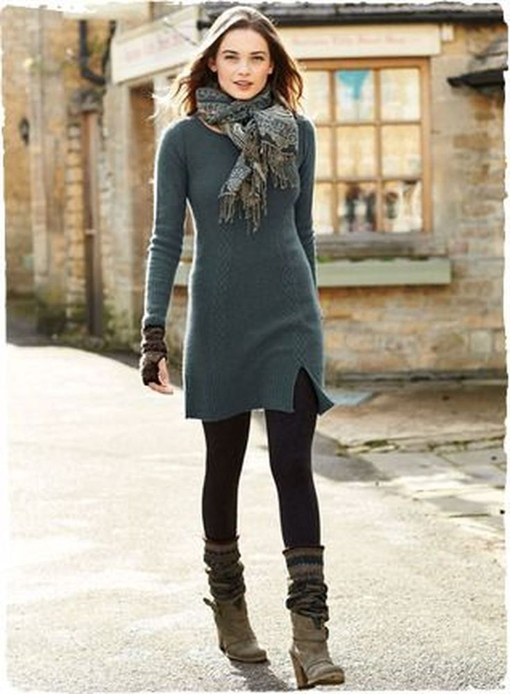 46 Cozy Winter Dresses Ideas With Leggings 2
