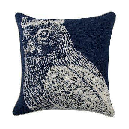 "Owl 18"" Reversible Pillow in Indigo design by Thomas Paul"