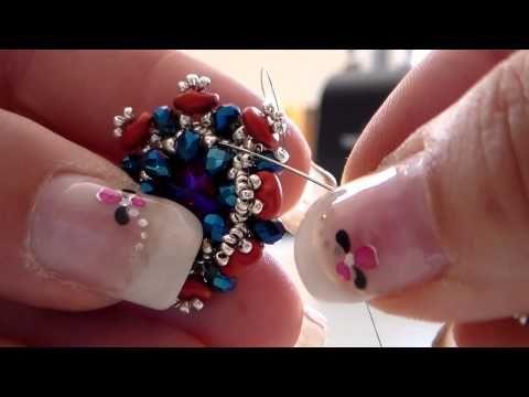 Tutorial ciondolo Lantana con perline quadritile, miyuki, swarovski, cup flower. - YouTube