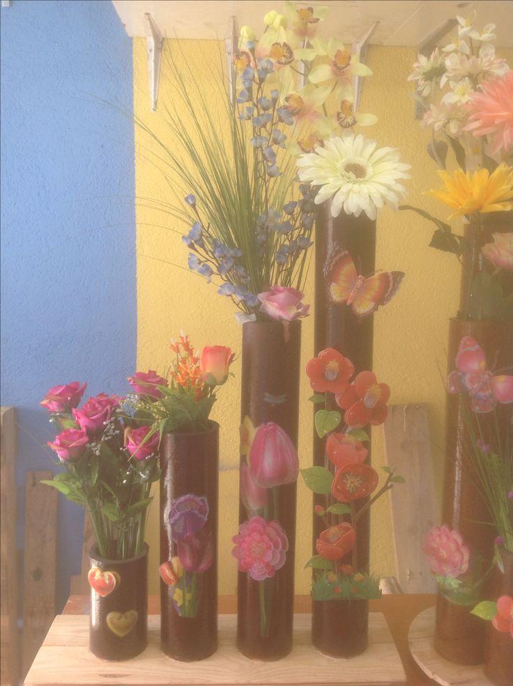 Florero de tubos de carton prensado carton reutilizado - Decoracion con bambu ...