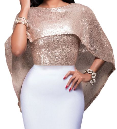 Top cape de soirée sequins brillants - bestyle29.com