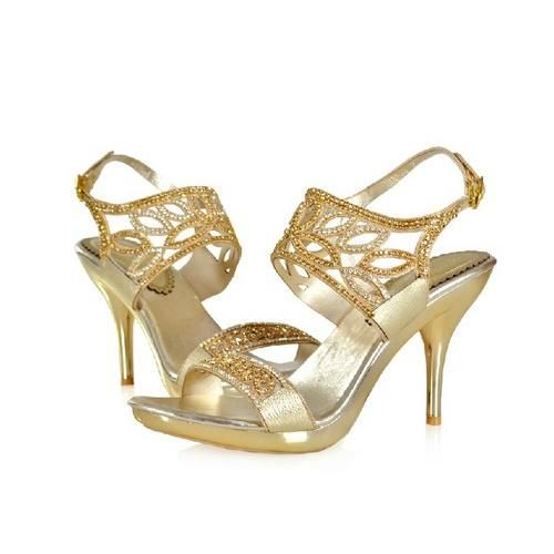 gold wedding shoes | Romantic 2013 Gold Wedding Shoes with Rhinstones
