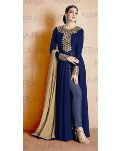 Blue Floor Lenght Top with Front Slit Embroiderd Salwar Suit