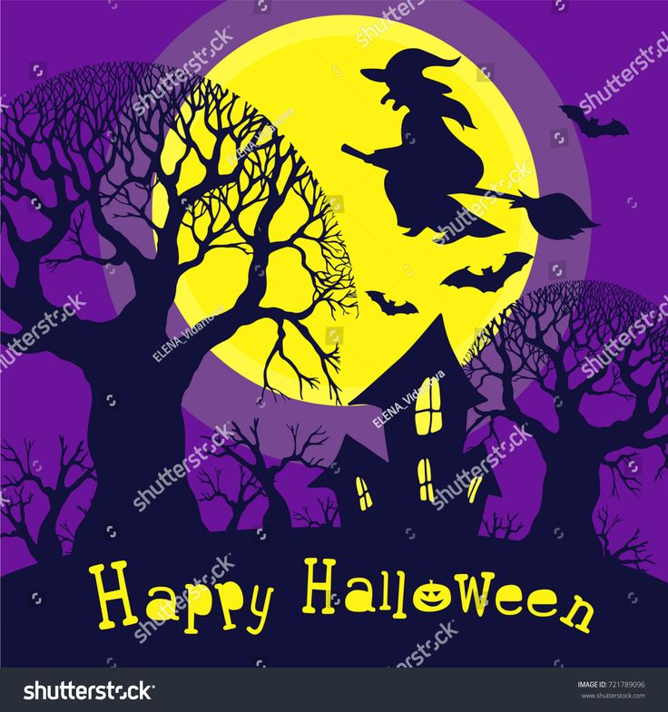Festive postcard dedicated to Halloween. Night forest and a large yellow moon against which the witch flies on a broom and bats. Silhouette