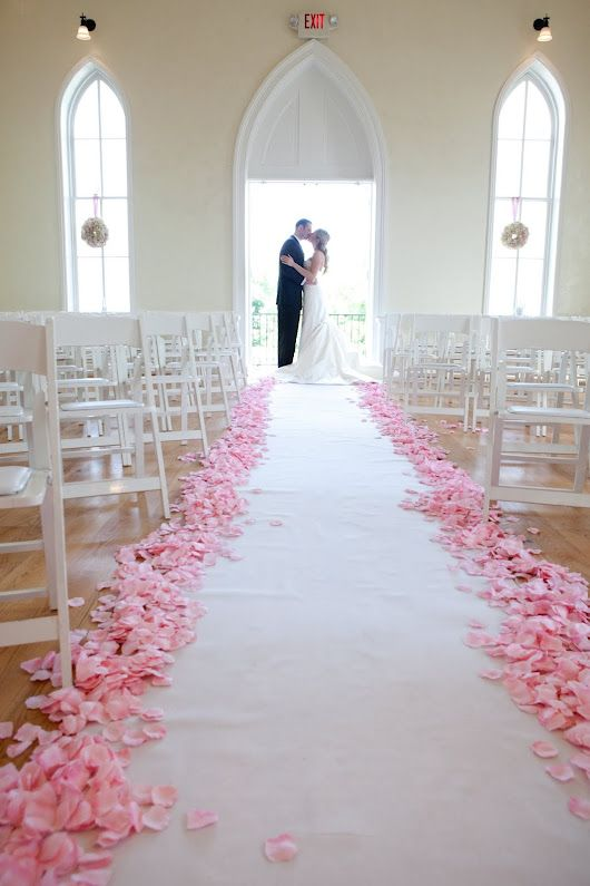 petal-lined aisle in ivory rose petals and some green hydrangea petals instead of pink. Petals are super cheap at save-on-crafts.com