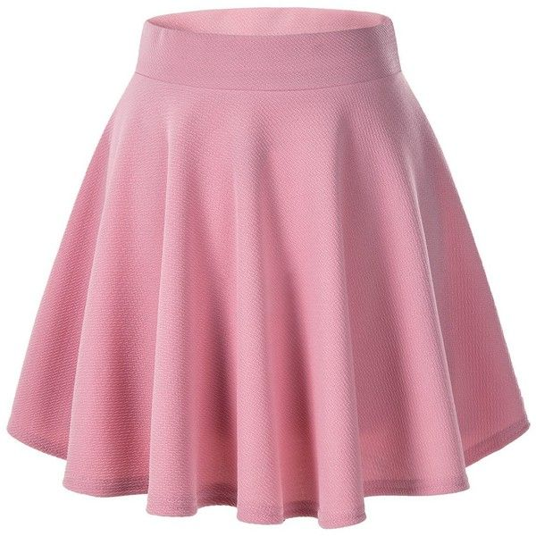 Women's Basic Solid Versatile Stretchy Flared Casual Mini Skater Skirt ❤ liked on Polyvore featuring skirts, mini skirts, pink mini skirt, flare skirt, mini circle skirt, pink skirt and stretchy skirts