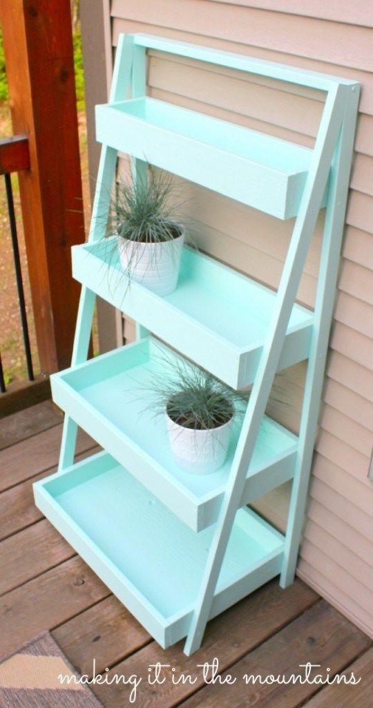DIY Ladder Shelf (paint color is Benjamin Moore Origins Sweet Turquoise)