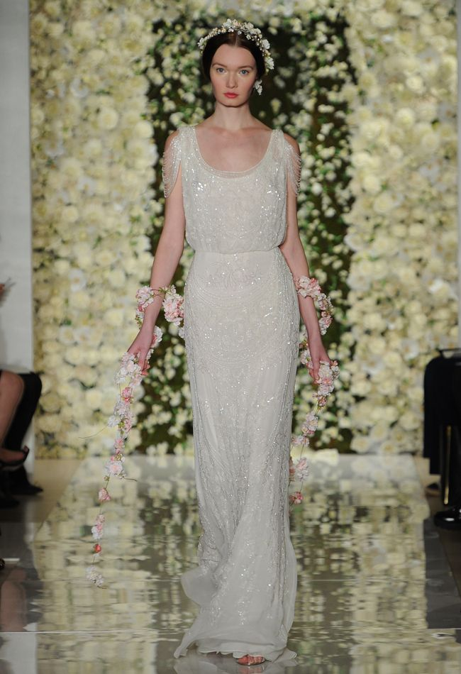 Open-Shoulder Sleeve Sheath Wedding Dress   Reem Acra Wedding Dresses Fall 2015   Maria Valentino/MCV Photo   Blog.theknot.com