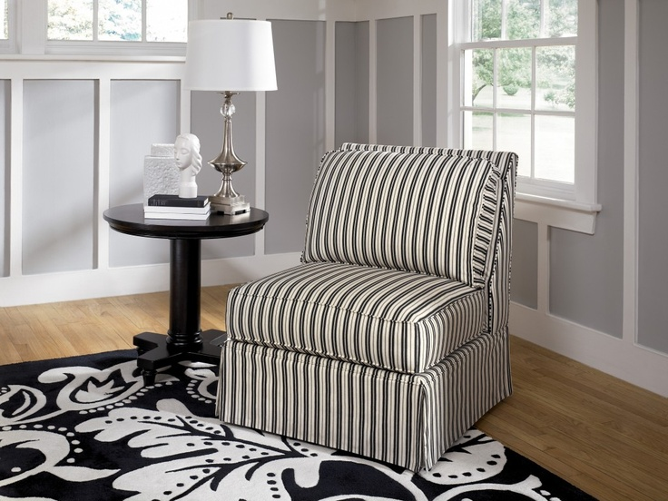 black and white striped armless accent chair