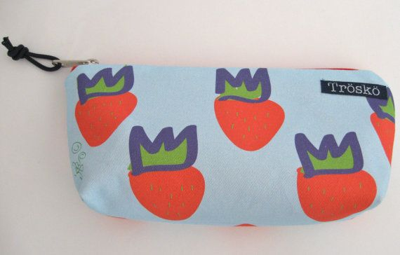 Strawberry zippered pouch made in Maine by TroskoDesign on Etsy