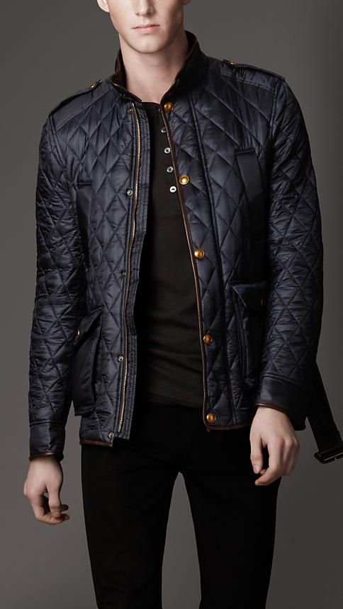 Black Quilted Waxed Cotton Jacket, By Burberry. Men's Fall Winter Fashion.
