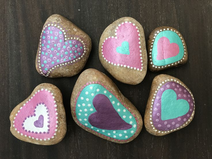 Dot art painted rocks. Heart shaped rocks. Valentine's Day Painted rocks. Kindness rocks.