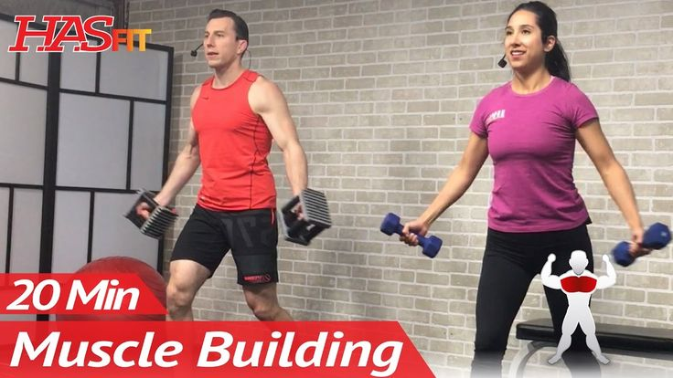 20 Min Muscle Building Dumbbell Chest Workout at Home for Women & Men Bo...