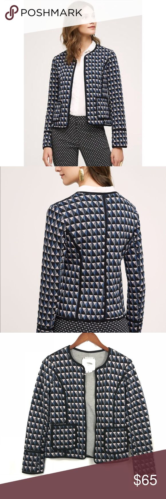 """Hei Hei Blue geometric Vala blazer jacket Size xs New without tags, tag marked to prevent returns Bust- 34"""" Length from shoulder to hem- 21"""" Anthropologie Jackets & Coats Blazers"""