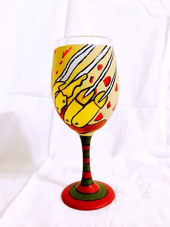 Freddy Krueger inspired hand painted wine glass. by AWhimsicalHoot
