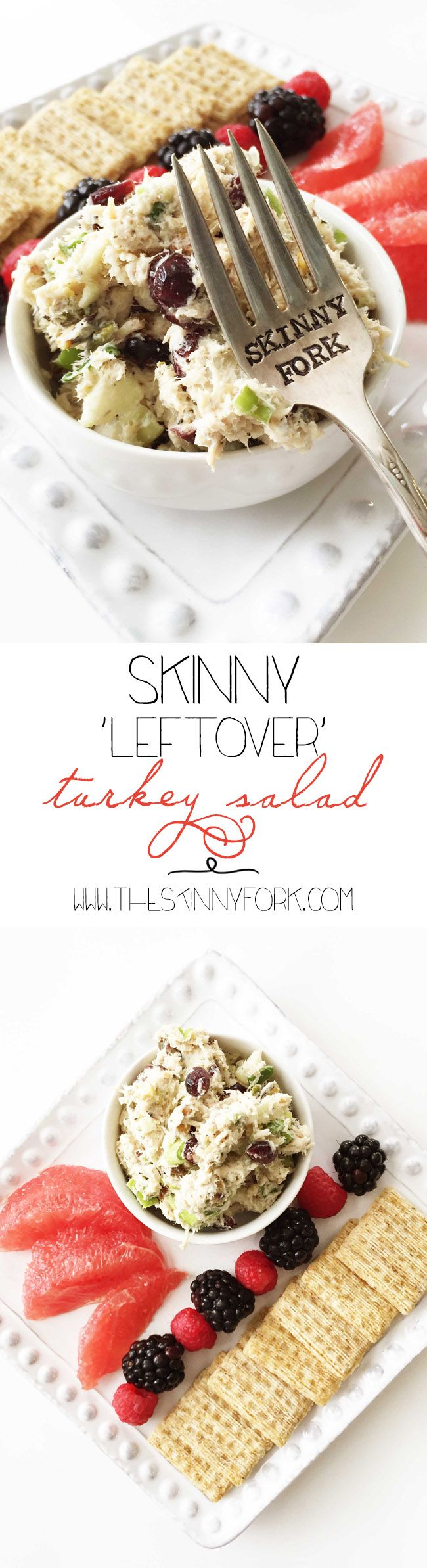 Skinny 'Leftover' Turkey Salad - A healthy turkey salad that's easy to whip up with those holiday leftovers! TheSkinnyFork.com