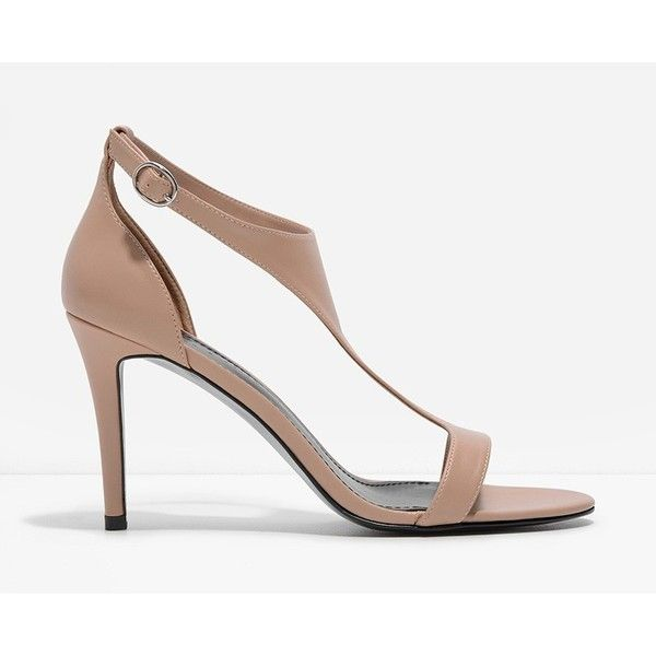 CHARLES & KEITH T-Bar Heels (68 AUD) ❤ liked on Polyvore featuring shoes, pumps, beige, open toe shoes, t strap pumps, open-toe pumps, ankle strap pumps and ankle wrap shoes