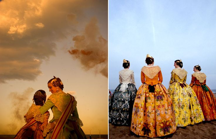 Valencians dress in regional costume to celebrate Las Fallas, a tradition that goes back for centuries / Turismo de Valencia, Spain