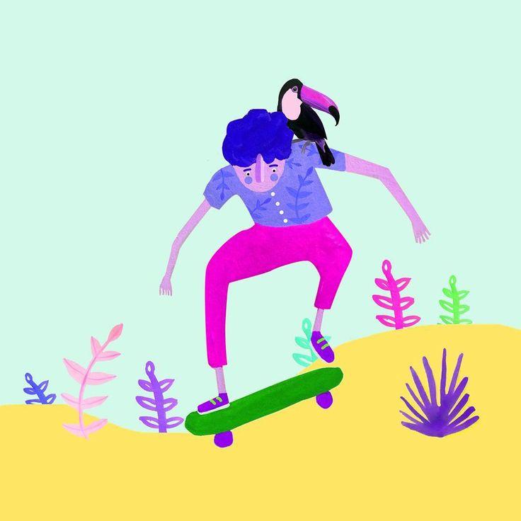Petit projet en cours 👀  -  🌿  www.lauralhuillier.fr   ARUAL BOUNCE   #illustration #drawing #painting #dessin #art #paint #skate #skateboard #skateboarder #toucan #tropical #plant #leaf