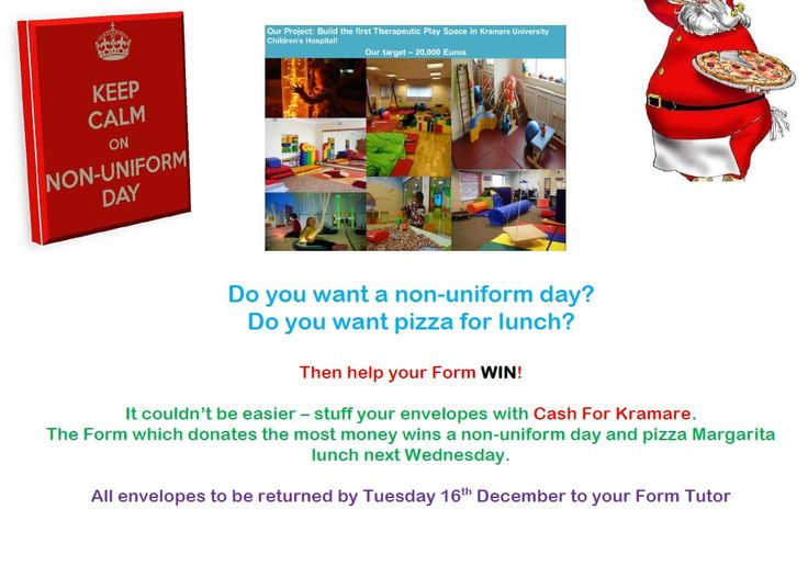 Raised over 600 euro in Secondary with a Win a Non-Uniform Day and Pizza lunch competition