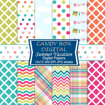 Summer Vacation Digital Papers by Candy Box Digital. Blue skies, swimsuits hanging to dry, summer plaids and stylized waves and trellises, all in bright summery colors. Great papers for scrapbooks, journals, cards, invitations, blog and webpage backgrounds, and paper crafts.