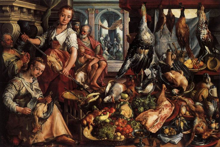 Joachim Beuckelaer, (1533–1575), Kitchen scene, with Jesus in the house of Martha and Mary in the background, 1566