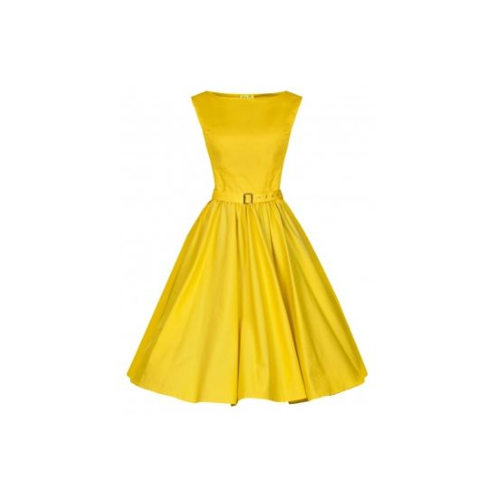 Lindy Bop Audrey Blazing Yellow Retro šaty ve stylu 50. let. Nádherné šaty ve výrazné, sytě žluté barvě, velmi slušivý střih, vhodné pro slavnostní příležitost např. družičky na svatbu, ale i běžné nošení. Krásně padnou, příjemná bavlna s podílem elastanu, žlutý pásek součástí. Pro bohatší a dokonalý objem sukně doporučujeme doplnit spodničkou, kterou najdete také v nabídce.