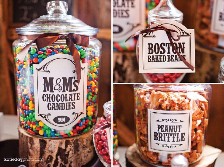 candy bar set up on cut wood slabs dessert wedding reception sweets treats pinterest. Black Bedroom Furniture Sets. Home Design Ideas