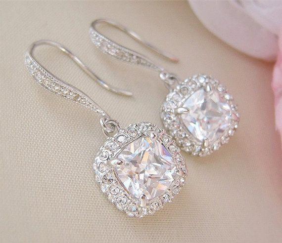 She will look Breathtaking in these earrings! Gorgeous Cushion Cut Bridal Earrings Wedding by CherryHillsBridal, $51.00