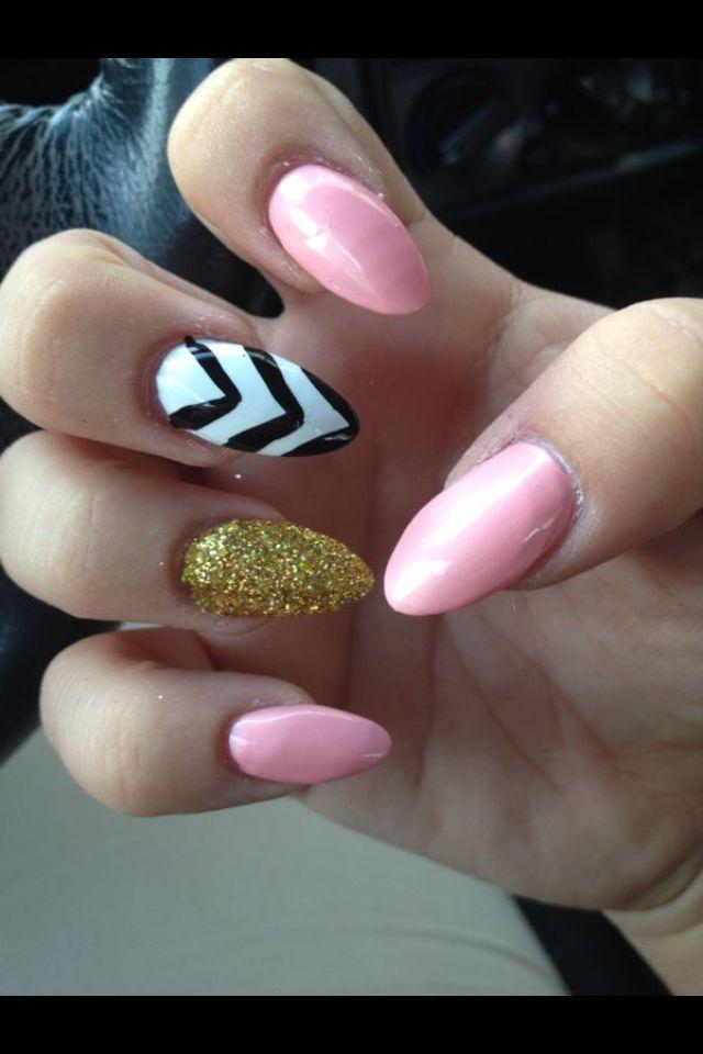 EricA's Nails stiletto nails / pink white black gold ...