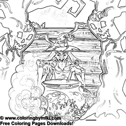 Halloween Fantasy Witch Coloring Page 1240 Ultimate Coloring