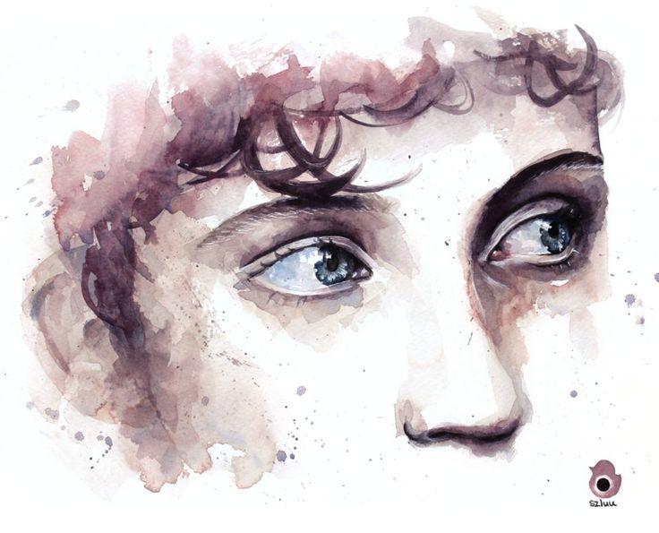 Just Troye and his wonderful eyes ~ Troye Sivan - watercolour painting by szluu.tumblr.com