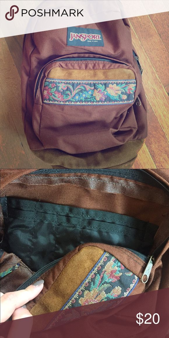 Jansport Embroidered Backpack Vintage looking embroidered Jansport backpack with a suede leather bottom! Never used in perfect condition:) Open to all offers! Jansport Bags Backpacks