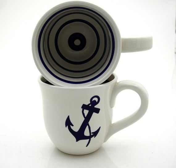 Anchor Nautical Navy Blue and White Large Mug by LennyMud on Etsy