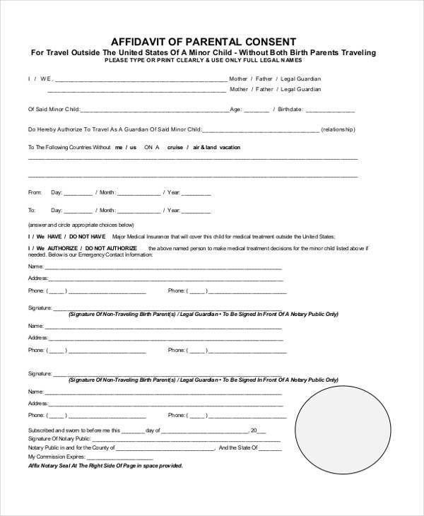 Parental Consent Form Template Travel Lovely Affidavit Form