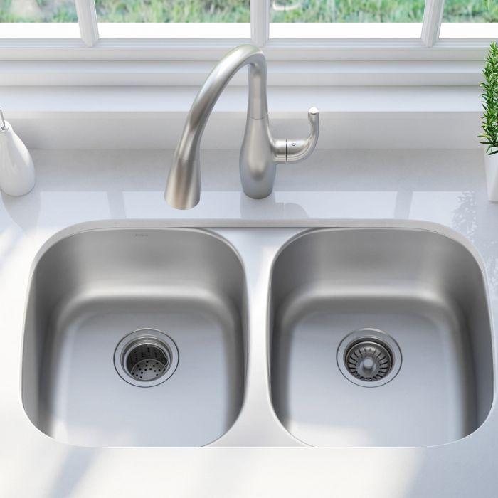32 Undermount 16 Gauge Stainless Steel 50 50 Double Bowl Kitchen Sink In 2020 Sink Double Bowl Kitchen Sink Double Kitchen Sink