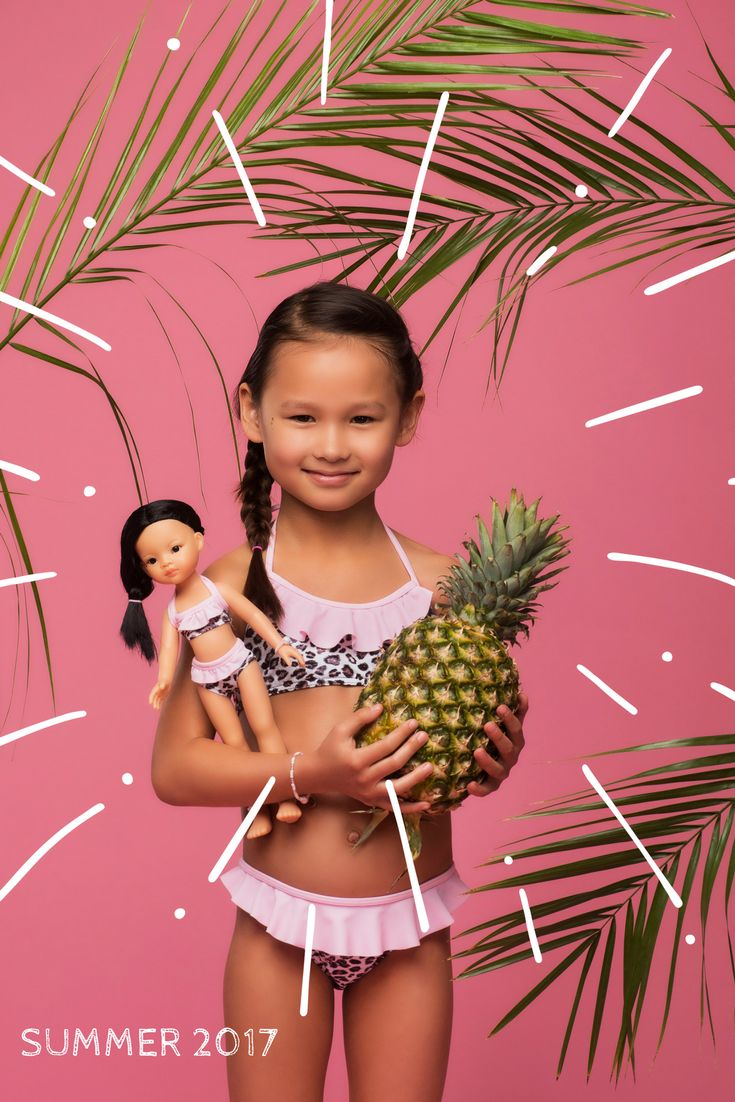 Matched clothes for girl and doll. La Lalla. Summer 2017 collection #pineapple #leopard #print #bathsuit #tropical #present #gift #custom #matchedclothes #bestpresentidea #photoshootidea #photofrommagazine