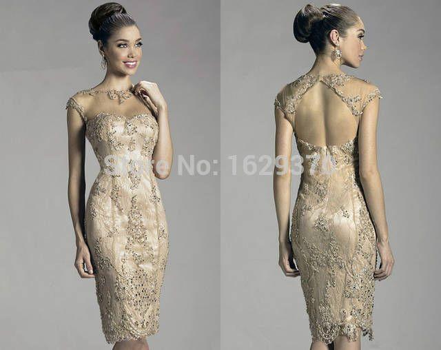 До колена мать платья невесты цвет шампанского аппликации с круглым вырезом контейнер без рукавов чехол с низким вырезом на спине обычный платье