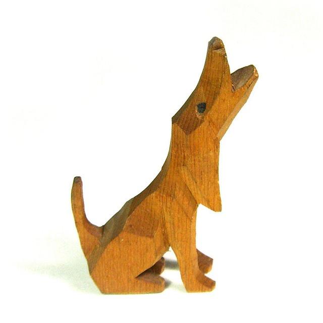 Vintage wooden dog sculpture