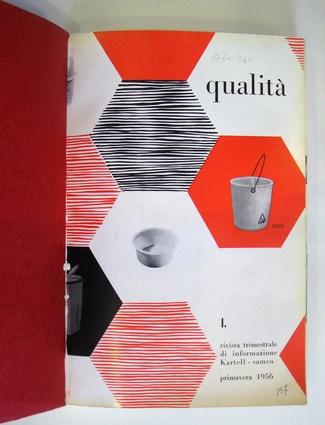 """Nel 1956 nasce """"Qualità """" il primo house organ del settore, la cui impostazione grafica è affidata a Michele Provinciali, che non si limita a promuovere l'immagine aziendale, ma tratta, più in generale, il tema del design e dei materiali plastici applicati ad esso."""