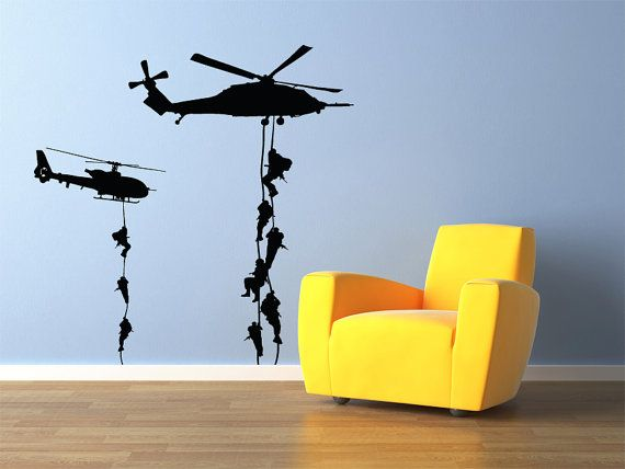 Military Helicopter Troopers Rappelling Wall Decal by StickerHog, $39.99